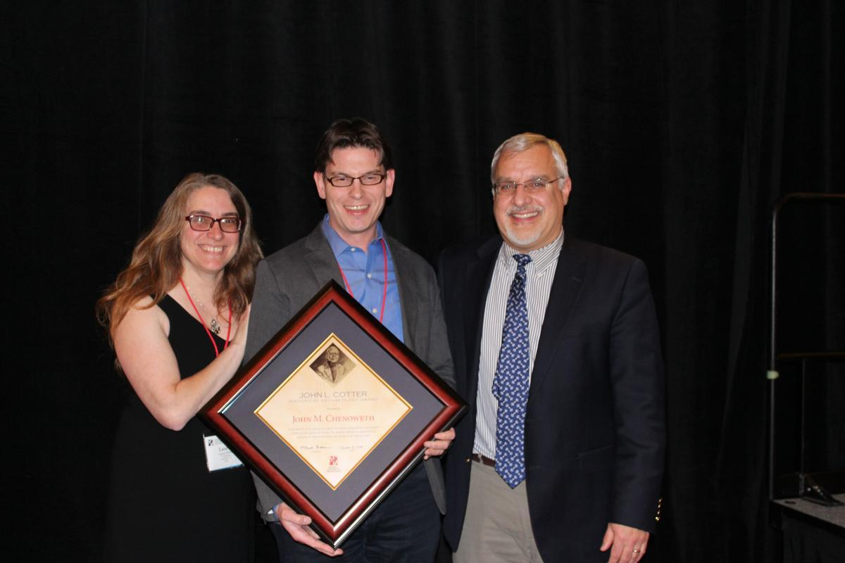Pictured are  Laurie Wilkie (Department of Anthropology, Berkeley and John's primary advisor), John Chenoweth, center, and Dr. Mark Warner, President of the Society for Historical Archaeology.