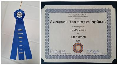 Certificate for Excellence in lab Safety, field Sciences, awarded to Jun Sunseri